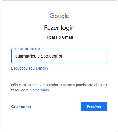No campo de E-mail Informar: suamatricula@pq.uenf.br