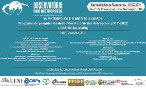 Observatório das Metrópoles realiza seminário na UENF no dia 15/10